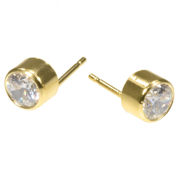 14kt Gold Filled 2mm White CZ Bezel Post Earrings