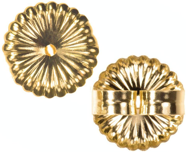 14K Gold Jumbo Earring Back Sunburst Extra Jumbo 9.5mm 1-Pair