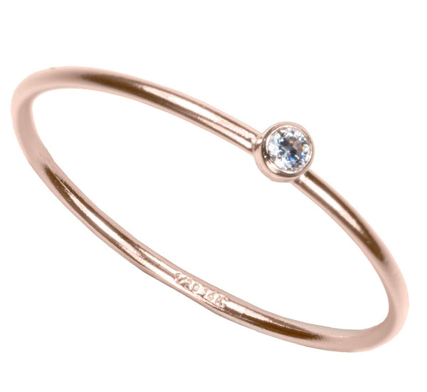 uGems 14K Rose Gold Filled 2mm White CZ Stacking Ring Size 8