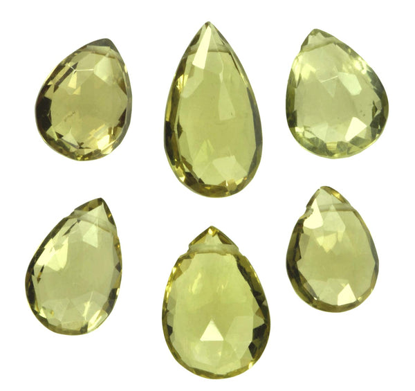 Olive Quartz Pear Briolette Beads ~10mm (Qty=6)