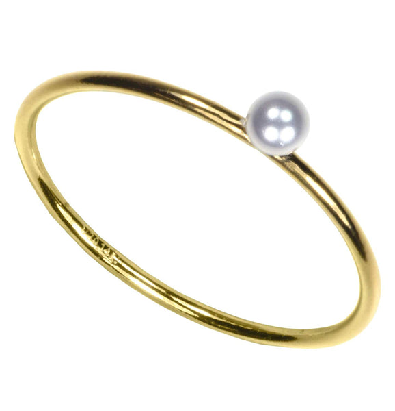uGems 14kt Gold Fill 3mm Simulated Pearl Stackting Ring Size 5