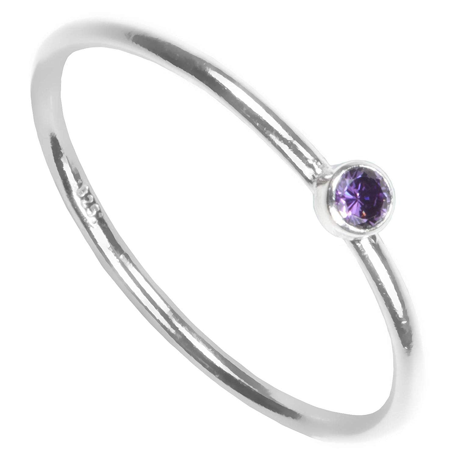 Sterling Silver Colors Cubic Zirconia Stacking Rings