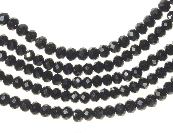 Black Spinel Strand Facet 2.3mm Rondelle