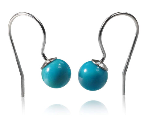 Sterling Silver Sleeping Beauty Turquoise Round Fishhook Earrings 6mm