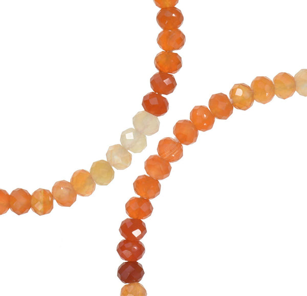 uGems Shaded Carnelian Micro Faceted Rondelle Genuine Natural Beads Strand ~3.5mm 12""