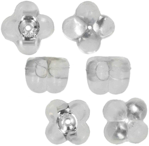 uGems Sterling Silver Four Leaf Clover Silicone Earring Back 3-Pairs