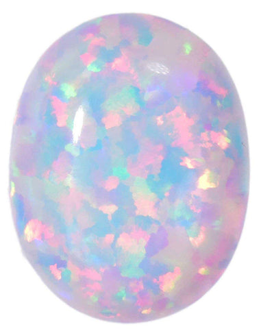 Created Opal Oval Cabochon White Oval 9mm x 7mm (1)