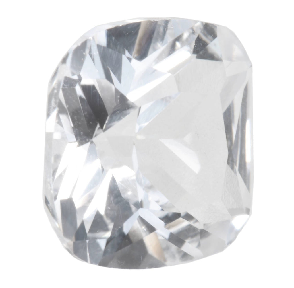 White Created  Sapphire Cushion Facet Unset Gemstone  9mm