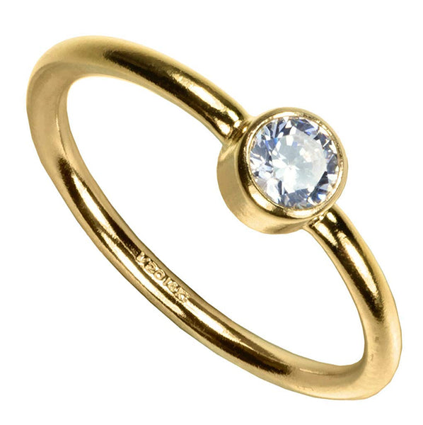 uGems 14kt Gold Filled White 4mm CZ Stacking Rings Size 5
