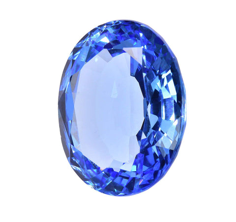 Simulated Blue Topaz Oval Facet 22mm