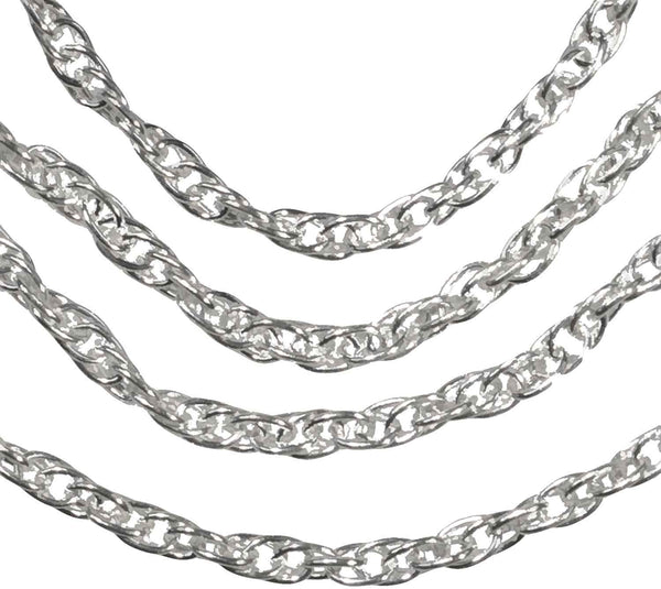 Sterling Silver Argentium Air Rope Pendant Chain 1.8mm 18 Inch