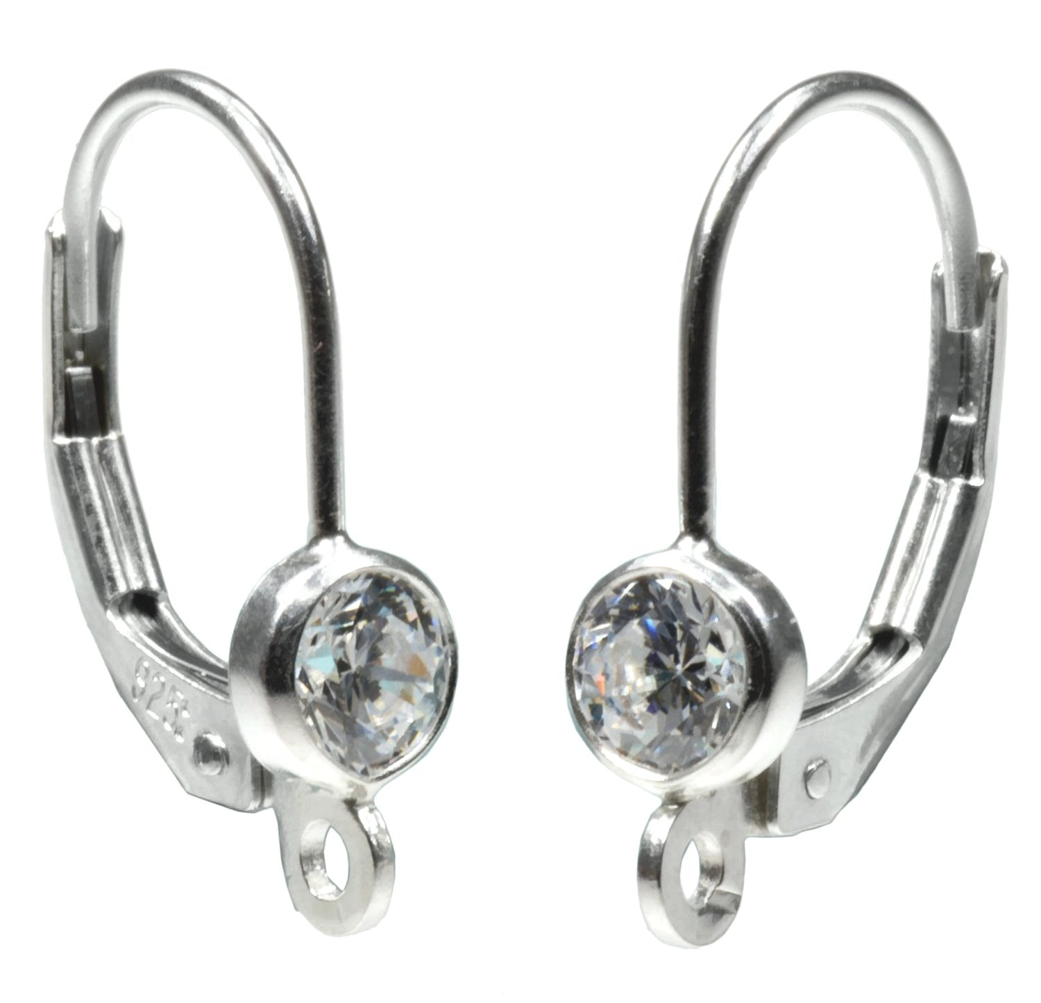 1779f68a9 Sterling Silver 4mm CZ's Lever Back Earring Parts with Ring 1-Pair ...