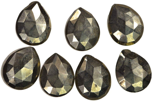 Natural Pyrite ~10mm x 8mm Briolette Pears Beads (Qty=7)