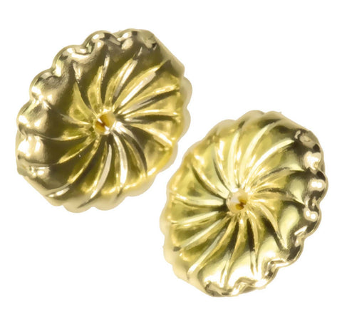 18K Yellow Gold Swirl Earring Backs Jumbo 9mm (1 Pair)