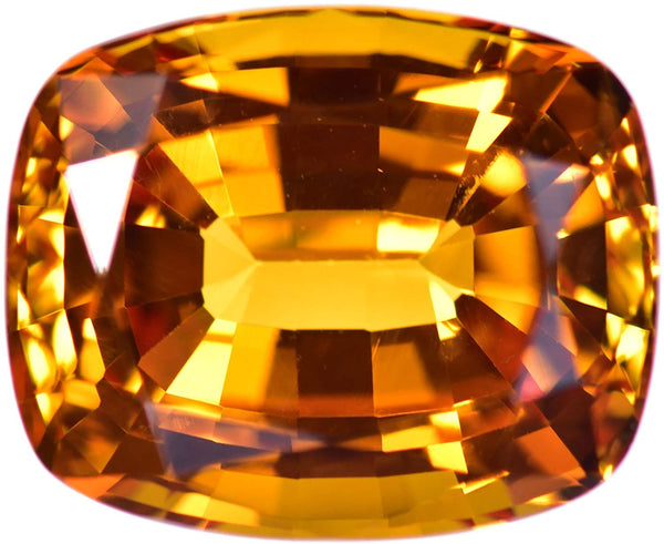uGems Yellowish Orange Created Sapphire Cushion Facet Unset Gemstone 11mm