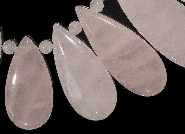 Rose Quartz Polygon Arrow Set 9 Beads 22mm-35mm