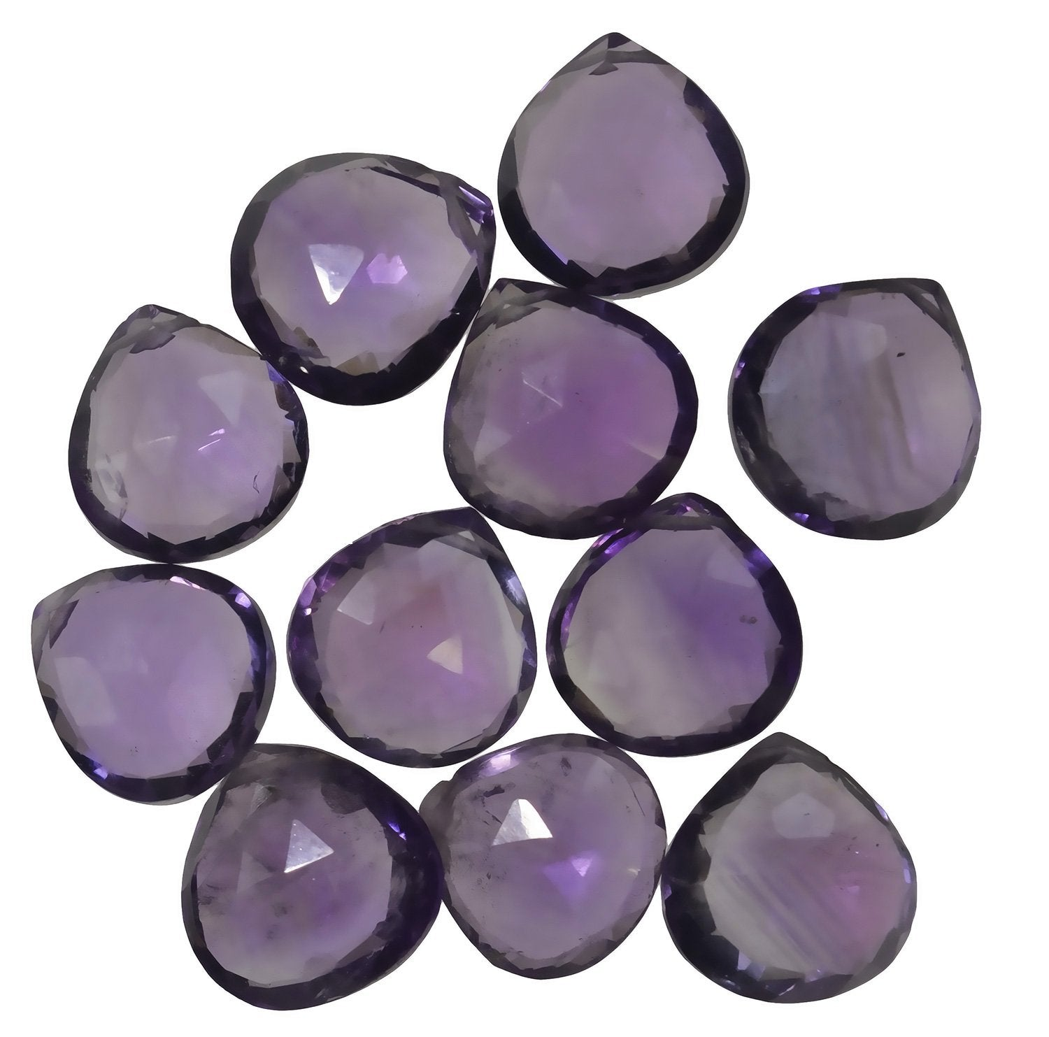Amethyst Briolettes Genuine Gemstone Facet Beads Hearts ~9-10mm (11)