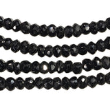 uGems Black Spinel Tiny Facet Rondelle Genuine Natural Strand 3mm 12""