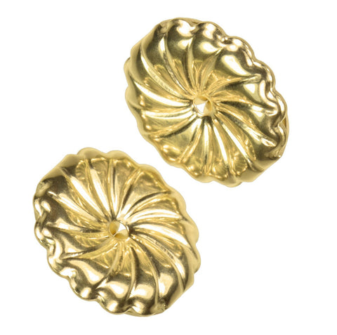 uGems 14K Solid Gold 9.5mm Spiral Swirl Circle Earring Backs for 0.030-0.035 Post 1 Pair