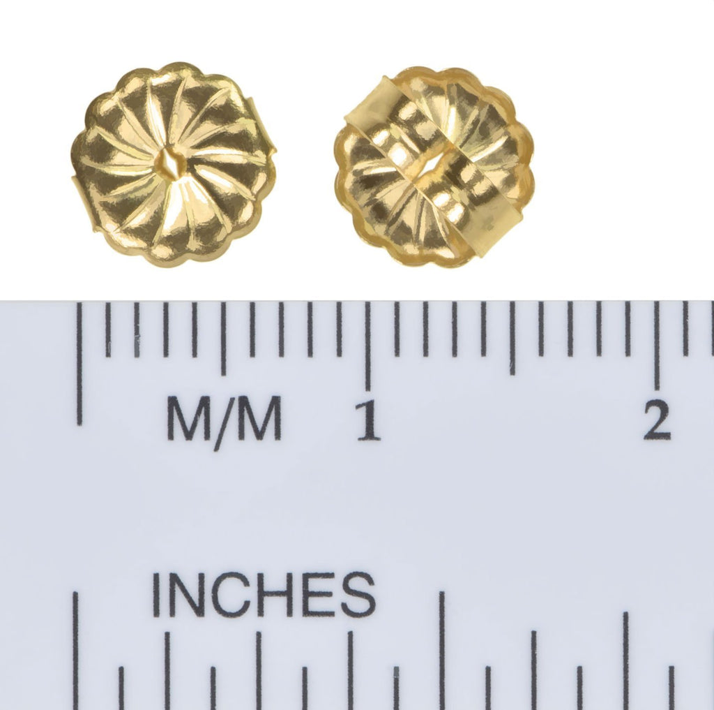 14K Solid Gold 7mm Spiral Swirl Circle Earring Back for 0.030-0.035 inch Post 1 Pair
