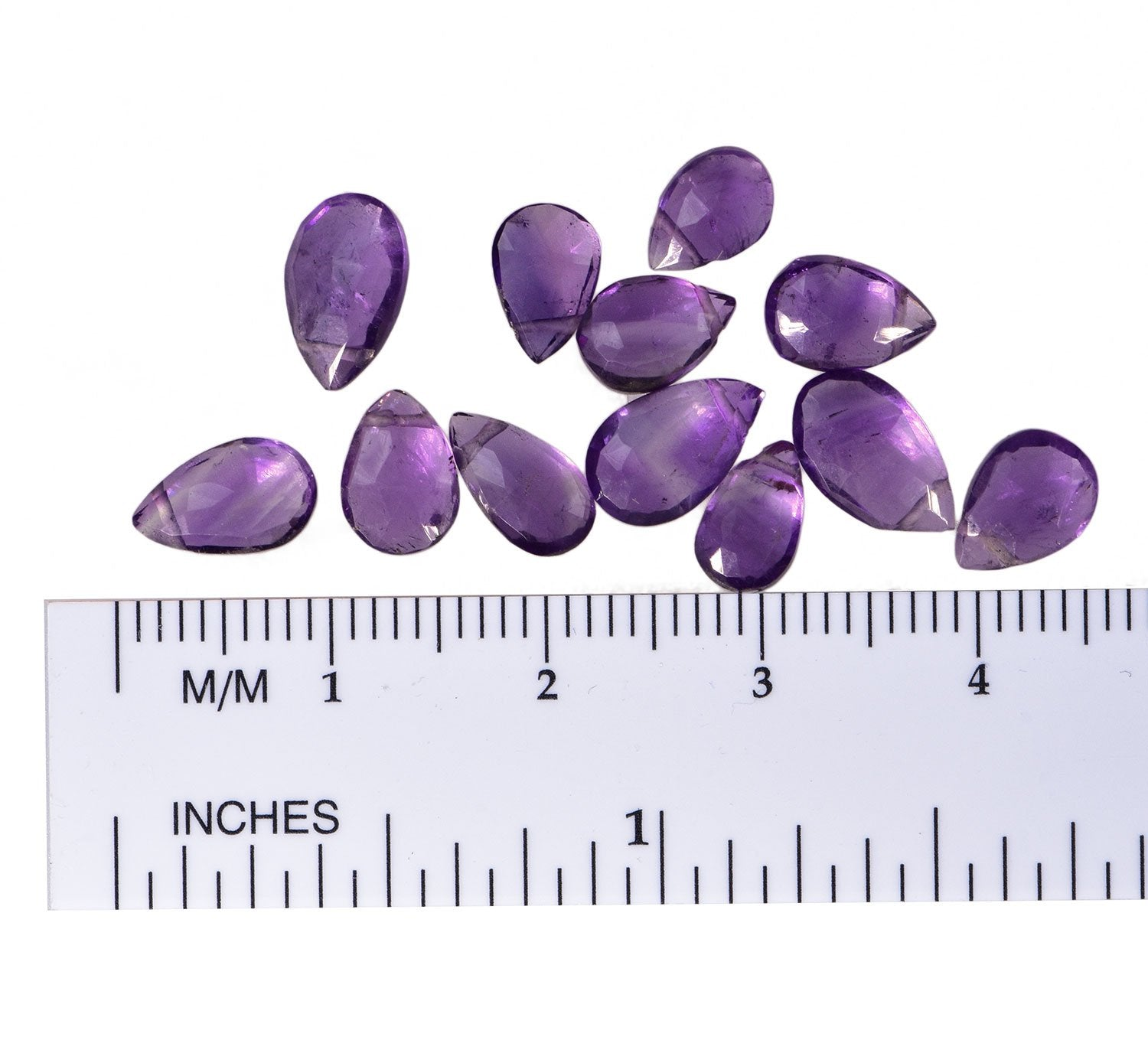 Amethyst Briolette Pear Facet Beads ~7-8mm Qty=12
