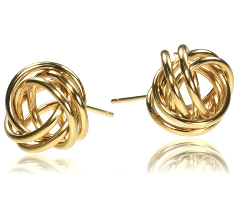 14K Gold 8mm Love Knot Earrings