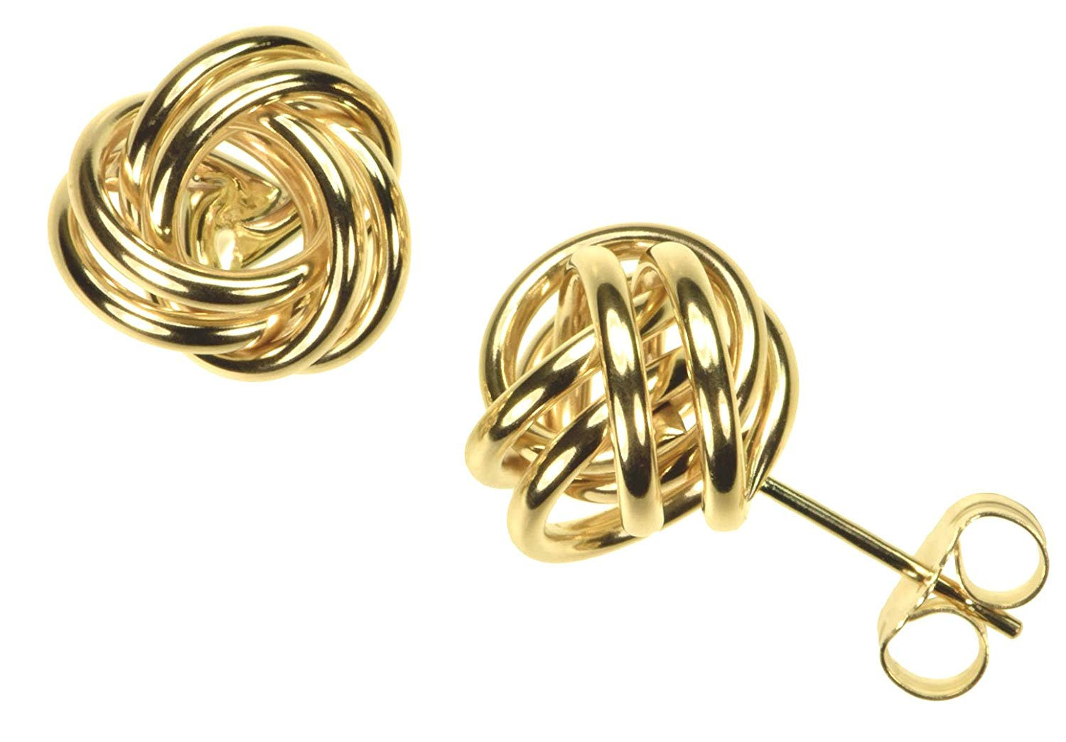 14K Gold 10mm Love Knot Earrings