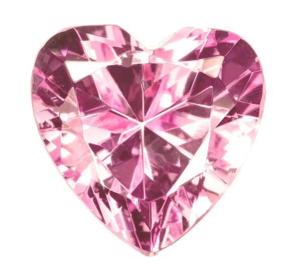Pink Created Sapphire Heart Double Side Check Cut Loose 16mm