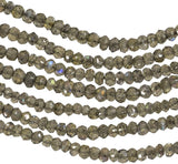 "Labradorite Micro Faceted Rondelle Beads Tiny ~2.5mm 14"" Strand"