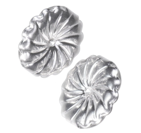 18K White Gold Jumbo Swirl Earring Backs Jumbo 9mm (1 Pair)