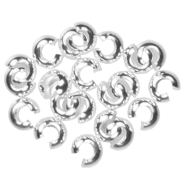Sterling Silver 4mm Crimp Covers (20) #j-4356