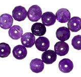 Amethyst 6mm Faceted Rondelles 1mm Hole (Qty=18 Beads)