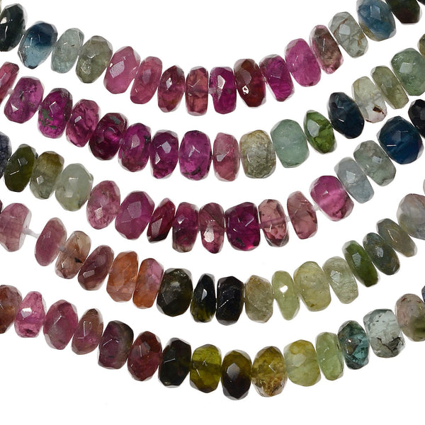 Tourmaline Multi Color Faceted Small Rondelle 4.5mm Bead Strand 14""