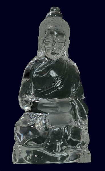uGems Quartz Buddha Meditating Sitting Temple Carving Statue 3 Inch