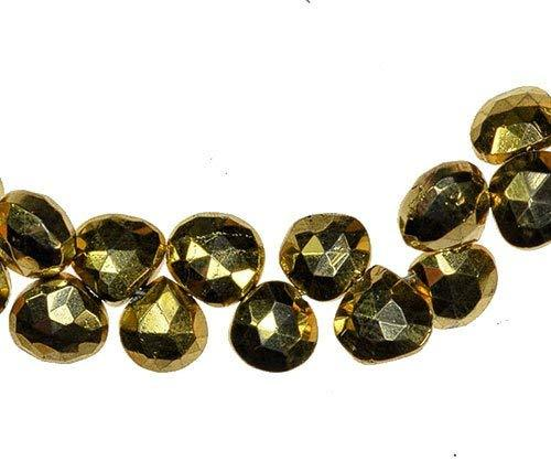 uGems Gold Pyrite Briolette Heart Faceted Beads Mystic 6.5mm (Qty=12)