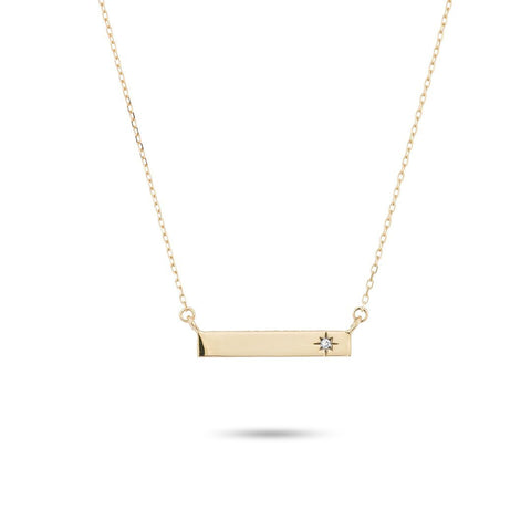 14k Gold Super Tiny Diamond Rectangle Necklace - Suetables