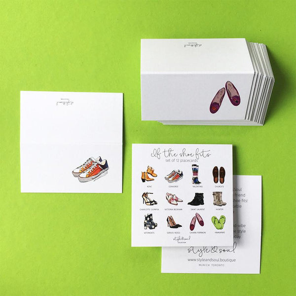 Style & Soul Party Placecards - 'If The Shoe Fits' - 12 name cards