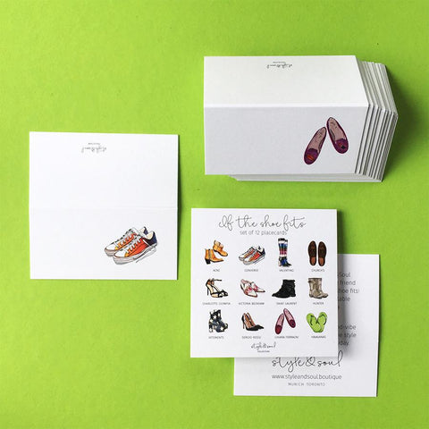 Style & Soul Party Placecards - 'If The Shoe Fits' - 12 party name cards - Suetables