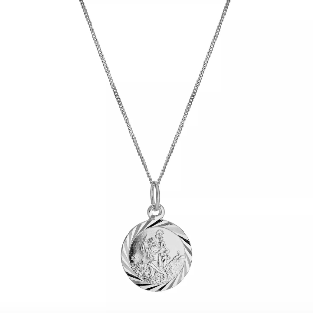 Mini Round St. Christopher Protection Charm - 10K & sterling silver - Suetables