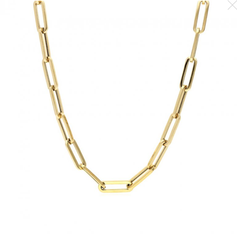 "Camilla Long Link Cable Chain - rose & yellow gold - 16""-34"" - Suetables"