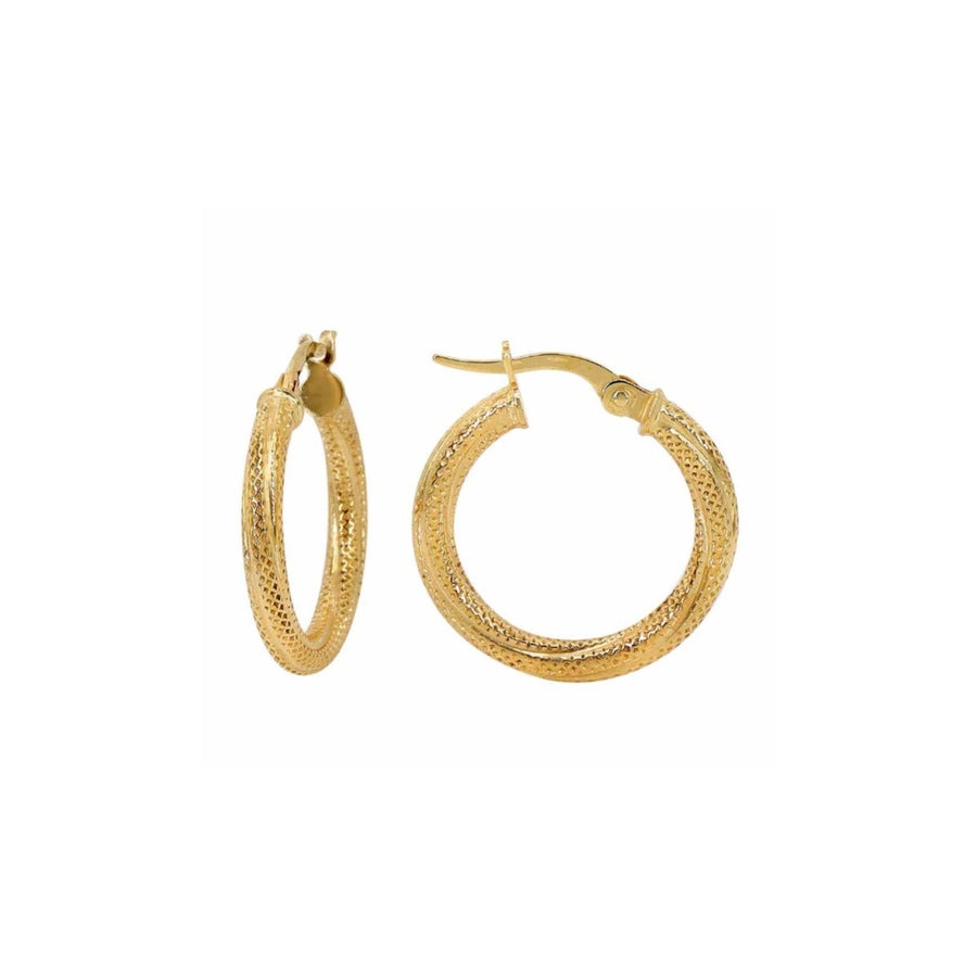 10k Gold Brielle Textured Double Hoop - Suetables