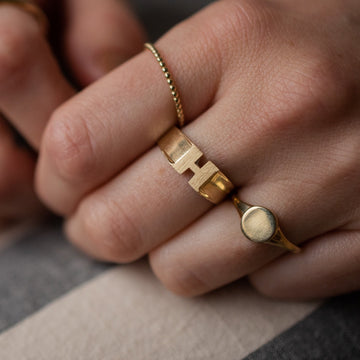 10K Gold Michelle Initial Ring - Suetables
