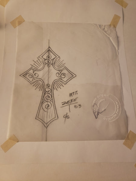 Gothic cross autographed by Zeke.