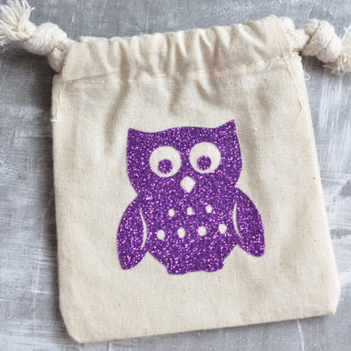 wise owl woodland glitter custom shower favor bags