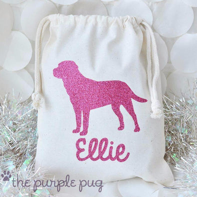 pink glitter lab puppy personalized packaging gift sack