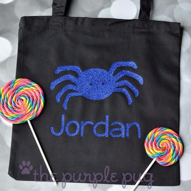 sparkling spider halloween trick or treat candy bag