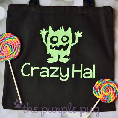 crazy monster trick or treat candy tote personalized