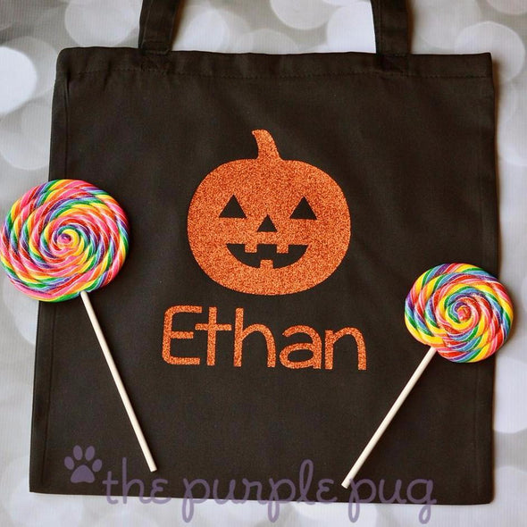 jack o lantern pumpkin personalized trick or treat halloween tote