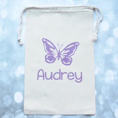 Brilliant Butterfly personalized Sparkle Sack Gift Bags