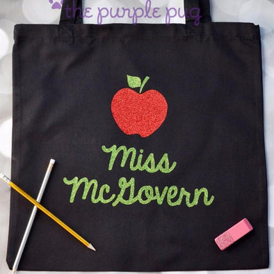 teacher tote bag apple and lime glitter design personalized
